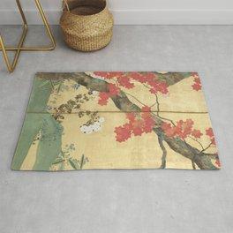 Maple Tree Japanese Edo Period Six-Panel Gold Leaf Screen Rug