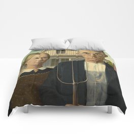 American Gothic Oil Painting by Grant Wood Comforters