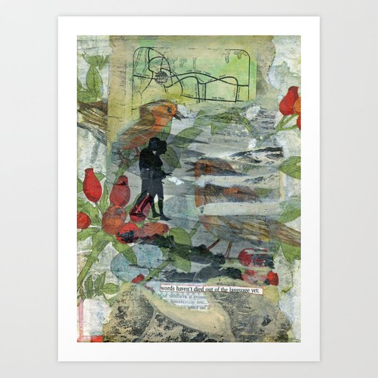 Birds on a Beach with Lovers, Eggs, and Flowers Art Print