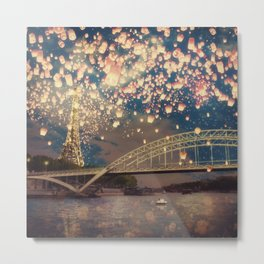 Love Wish Lanterns over Paris Metal Print