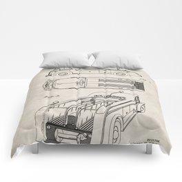 Fire Truck Patent - Fireman Art - Antique Comforters