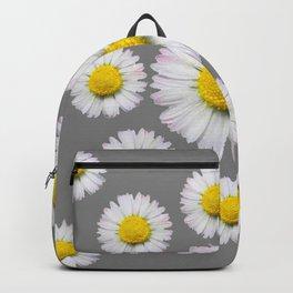 WHITE SHASTA DAISY FLOWERS  DECORATIVE GREY ART Backpack