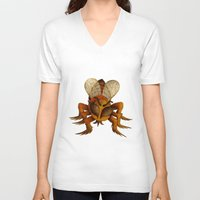 bee V-neck T-shirts featuring bee by giol's