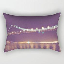 Let's go for a walk. San Francisco Bay bridge night photograph. Rectangular Pillow