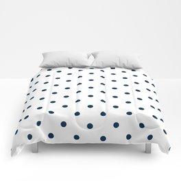 Navy Blue & White Polka Dots Comforters