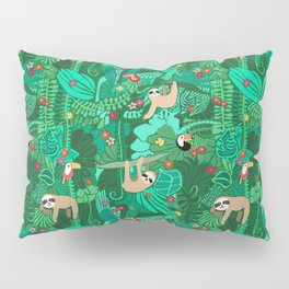 Sloths in the Emerald Jungle Pattern Pillow Sham