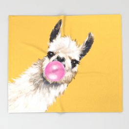 Bubble Gum Sneaky Llama in Yellow Throw Blanket