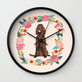 irish setter floral wreath spring dog breed pet portrait gifts Wall Clock
