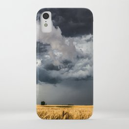 Cotton Candy - Storm Clouds Over Wheat Field in Kansas iPhone Case