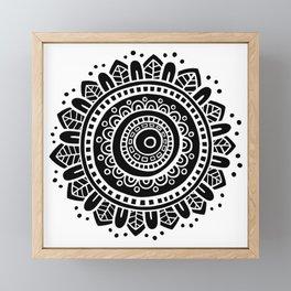 Mandala - White on Black Framed Mini Art Print