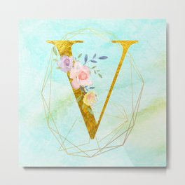 Gold Foil Alphabet Letter V Initials Monogram Frame with a Gold Geometric Wreath Metal Print