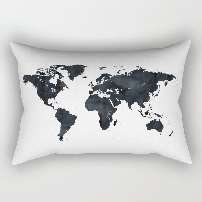World Map in Black and White Ink on Paper Rectangular Pillow