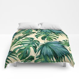 Tropical Island Republic Green on Linen Comforters