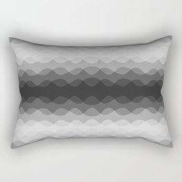 Overlapping Wavy Horizontal Lines Light Gray Mid-tone Gray & Dark Gray Pattern Rectangular Pillow