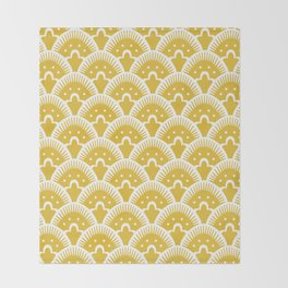 Fan Pattern Mustard Yellow 201 Throw Blanket