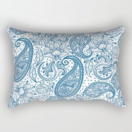 Blue ethnic ornate floral paisley pattern Rectangular Pillow