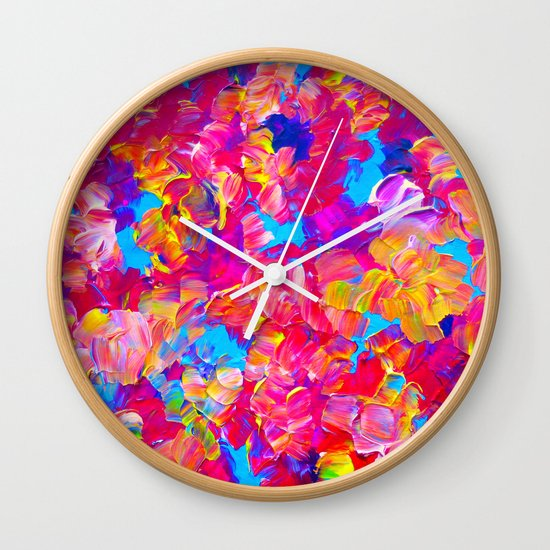 FLORAL FANTASY Bold Abstract Flowers Acrylic Textural Painting Neon Pink Turquoise Feminine Art Wall Clock