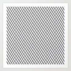 Grey Herringbone Art Print