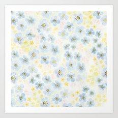 Blue Fields. Fictional Flowers. Art Print
