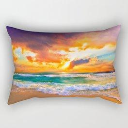 Orange Sunset Landscape Red Purple Green Sea Waves Art Rectangular Pillow