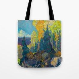 Canadian Landscape Franklin Carmichael Art Nouveau Post-Impressionism Autumn Hillside Tote Bag