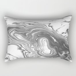 Katsuro - spilled ink marble paper map topography painting black and white minimal ocean swirl  Rectangular Pillow