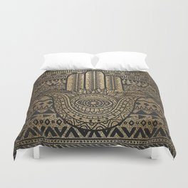 Native Pattern Golden Hamsa Hand Duvet Cover