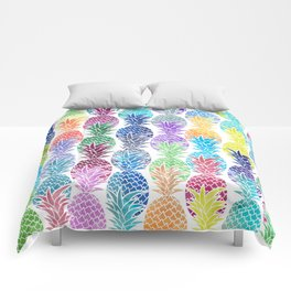 Colorful Watercolor Pineapple Pattern Comforters