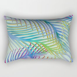 Palm Leaves Pattern - Blue, Purple, Green Rectangular Pillow
