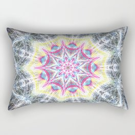 Pink and Yellow Mandala Swirl Rectangular Pillow
