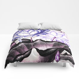 Pink Gray Lavender Sacred Egyptian Bean Temple of Flora Comforters