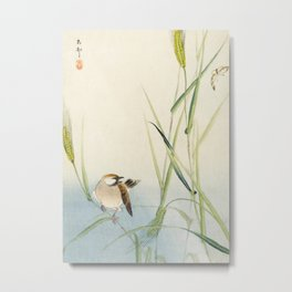 Sparrow and Butterfly  - Vintage Japanese Woodblock Print Art Metal Print