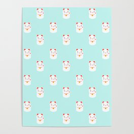 Lucky happy Japanese cat pattern Poster