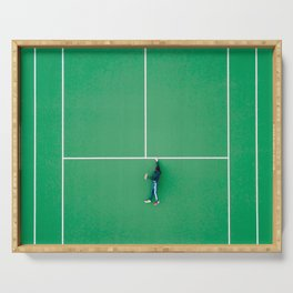 Tennis court green Serving Tray
