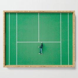 Tennis court green Serving Tray