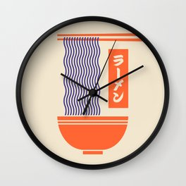 Ramen Japanese Food Noodle Bowl Chopsticks - Cream Wall Clock