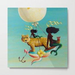 African American Masterpiece 'Le Jolis Ballon' nautical landscape by O. Bulman Metal Print
