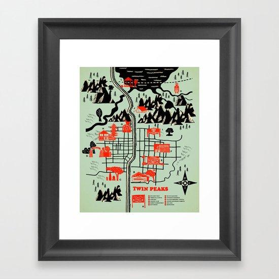 Twin Peaks Map Framed Art Print