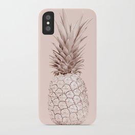 Rose Gold Pineapple on Blush Pink iPhone Case