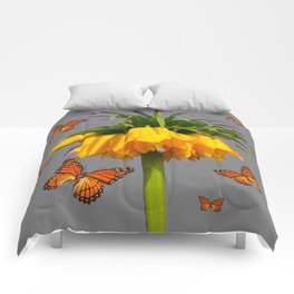 ORANGE MONARCH BUTTERFLIES CROWN IMPERIAL FLOWER Comforters