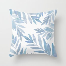 Muted Blue Palm Leaves Throw Pillow
