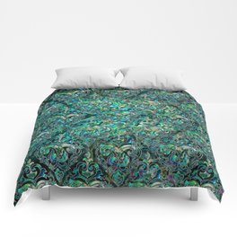 Persian Oriental pattern abalone and silver Comforters