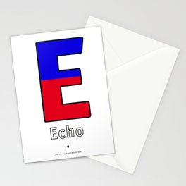 Echo - E - Navy Alphabet Stationery Cards