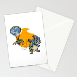 Turtle and tortoise parasailing Stationery Cards