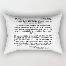 It was one of those rare smiles - F. Scott Fitzgerald Rectangular Pillow