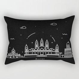 Surat Minimal Nightscape / Skyline Drawing Rectangular Pillow