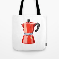 Red Italian Stove-Top Cafetiere Tote Bag