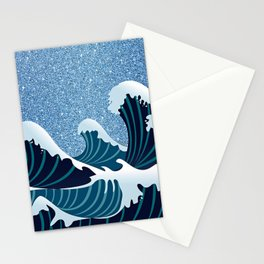 Abstract white navy blue glitter japanese waves Stationery Cards