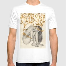 The Fragility Of Being Human White Mens Fitted Tee MEDIUM