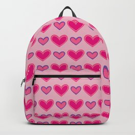 Pink and Purple Hearts Seamless Pattern 055#001 Backpack